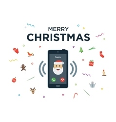 Christmas phone call from Santa Claus with vector image
