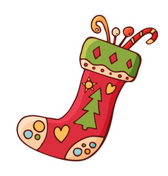 christmas sock with gifts vector image