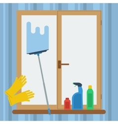 Cleaning windows concept vector