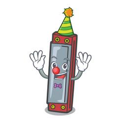 Clown harmonica mascot cartoon style vector