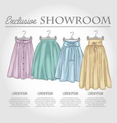 Color showroom set of woman casual clothes vector