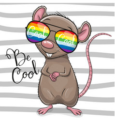 Cool cartoon rat with sun glasses vector