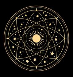 Cosmic esoteric composition lines symbols vector