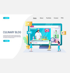 culinary blog website landing page design vector image