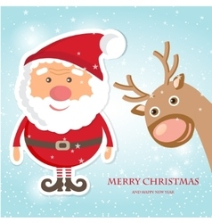 Cute Santa Claus and Reindeer on christmas vector