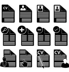 Cv icons set vector