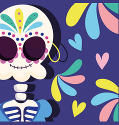 day dead skeleton with earring decoration vector image