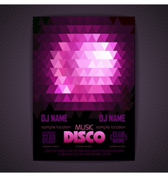 Disco poster geometric triangle background vector image