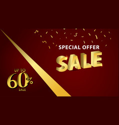 Discount up to 60 special offer gold banner vector
