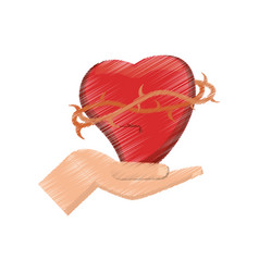 drawing hand holding sac heart vector image