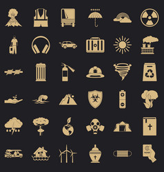 Dreadful disaster icons set simple style vector
