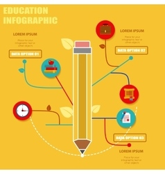 Education Template with pencil and icons vector image