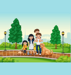 Family at the park vector