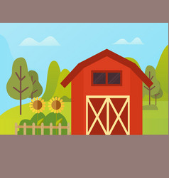 farm house ranch and sunflowers growing on ground vector image