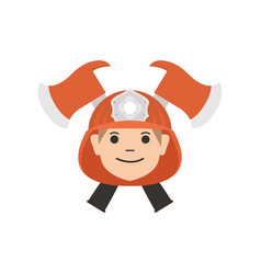 firefighter head with helmet and axes flat style vector image