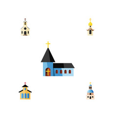 flat icon christian set of church structure vector image