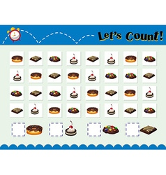 Game template for counting desserts vector