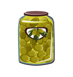green olives in glass jar flat vector image