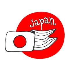 hand drawn sketch of flag japan - red circle vector image