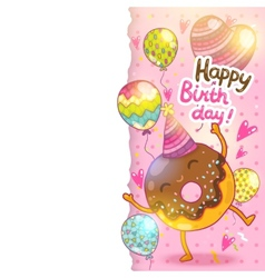 Happy Birthday card background with cute donut vector image