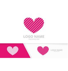 Heart logo combination logotype for clinic vector