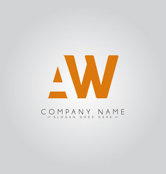 Initial letter aw logo - minimal business logo vector