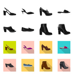 isolated object of footwear and woman sign set of vector image
