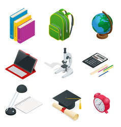 isometric educational concept open book of vector image