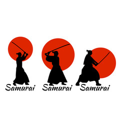 Japanese samurai warriors silhouette katana sword vector
