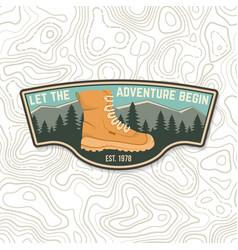Let adventure begin sammer camp badge vector