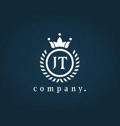 Letter jt j or t luxury royal monogram logo vector