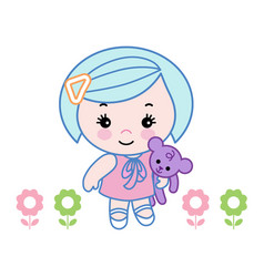 little girl carrying a doll vector image
