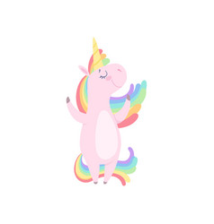 lovely unicorn standing on two legs cute fantasy vector image