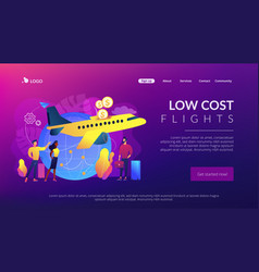 Low cost flights concept landing page vector