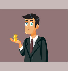Male employee holding a few coins vector