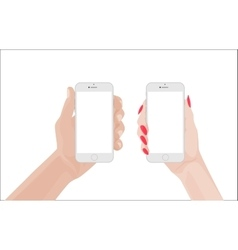 man and woman handsholding white smartphone vector image vector image