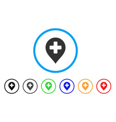 medical cross marker rounded icon vector image