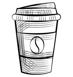 monochrome disposable cup for espresso and latte vector image