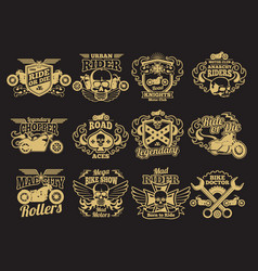 motorbike club vintage patches on black vector image
