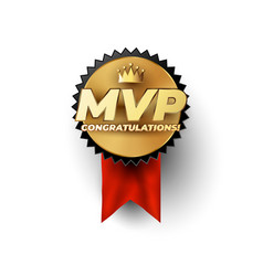 Mvp most valuable player gold badge concept vector