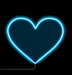 neon glowing heart isolated on a black background vector image
