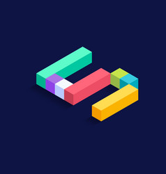 Number 5 isometric colorful cubes 3d design vector
