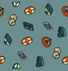 online casino color outline isometric pattern vector image