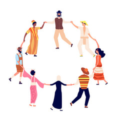 People round dance adults friends circle vector