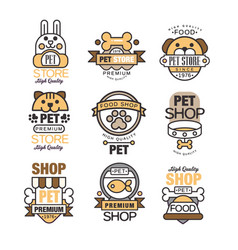 Pet store logo set premium shop since 1976 vector