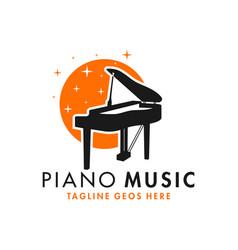 Piano musical instrument inspiration logo vector