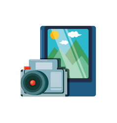 Picture photographic with camera vector