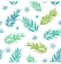 Pine tree twigs and snowflakes christmas pattern vector