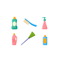plastic bottles of cleaning products broom brush vector image