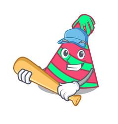 Playing baseball party hat character cartoon vector